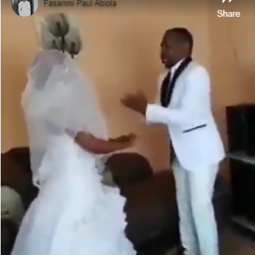#Trending : Man Begin To Speak In Tongues Moments Pastor Ask Him To Kiss His Wife On Their Wedding Day(Videos)
